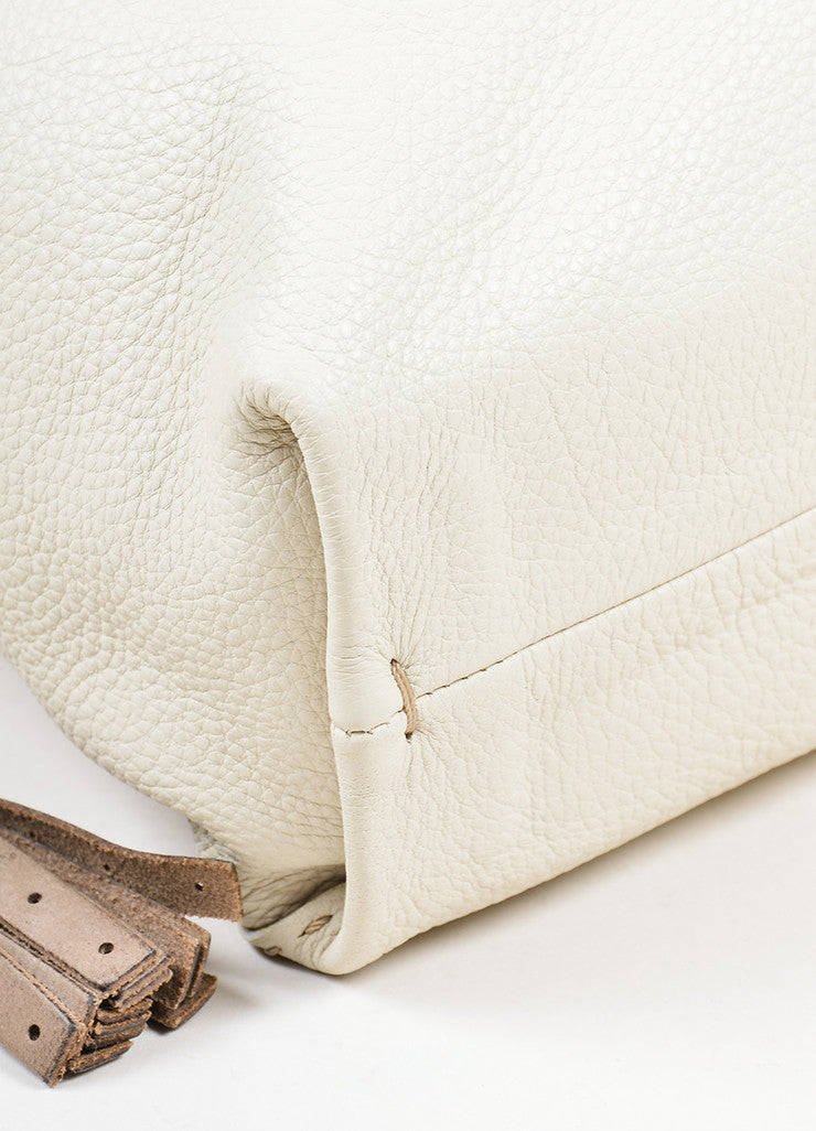 Cream Henry Beguelin Pebbled Leather Coin Purse Slouchy Bag