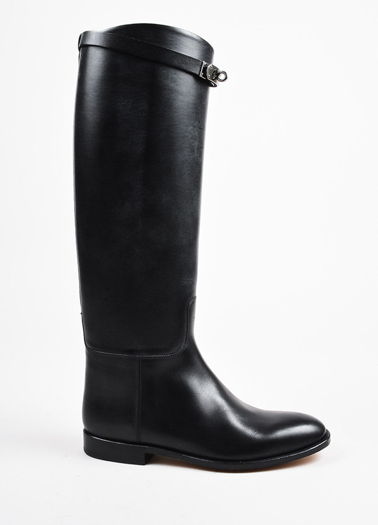"Hermes Black Leather ""Jumping"" Almond Toe Tall Riding Boots Sideview"