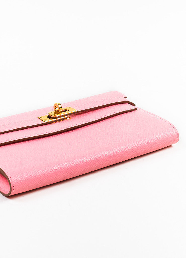 "Hermes Rose Confetti Pink Epsom Leather ""Kelly"" Long Money Holder Wallet Bottom View"