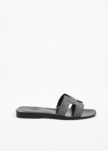"Hermes Black and Metallic Silver Leather 'H' Flat ""Oran"" Sandals Sideview"