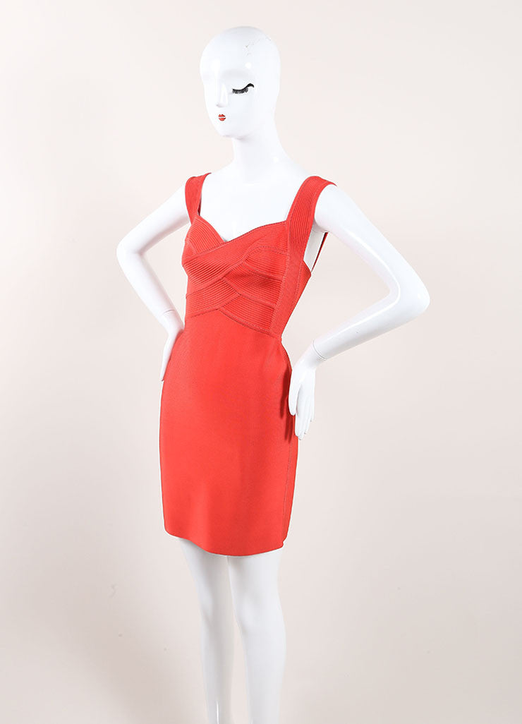 Herve Leroux New With Tags Orange Sleeveless Bodycon Dress Sideview