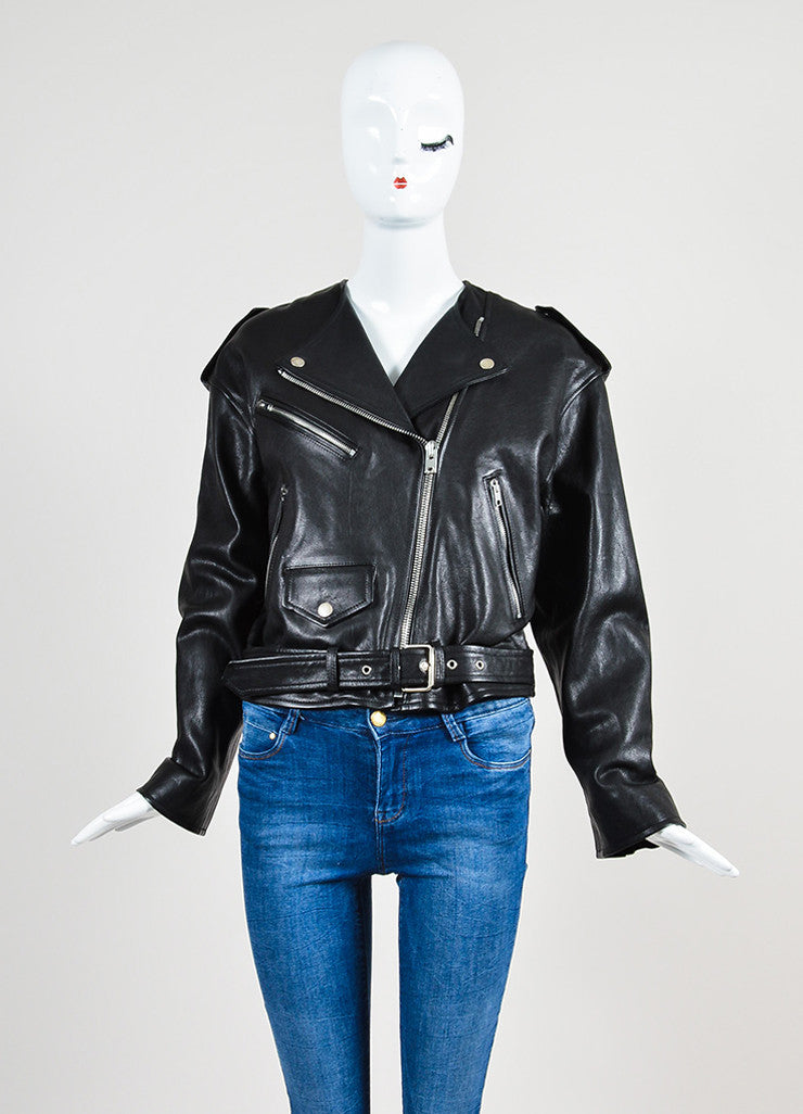 "Black Isabel Marant Leather ""Audric"" Moto Jacket Frontview"