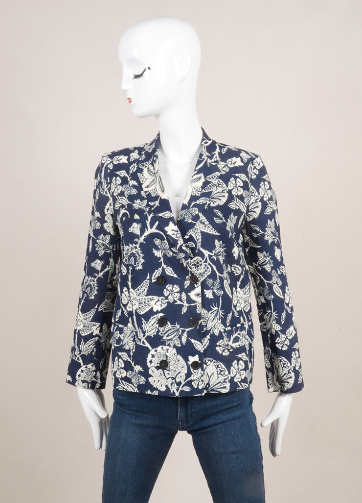Isabel Marant Navy and Cream Linen Blend Floral Long Sleeve Blazer Jacket Frontview
