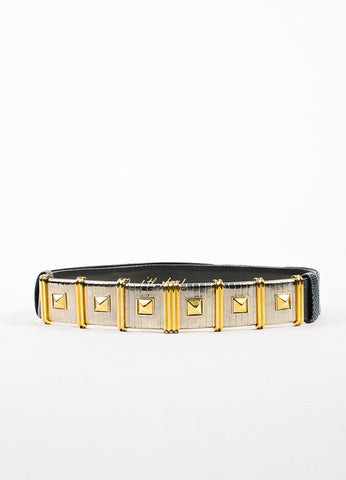 Judith Leiber Grey, Silver, and Gold Toned Lizard Stud Stripe Buckle Belt Frontview