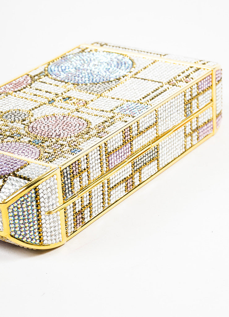 Judith Leiber Pink and Gold Toned Swarovski Crystal Geometric Patterned Minaudiere Bottom View