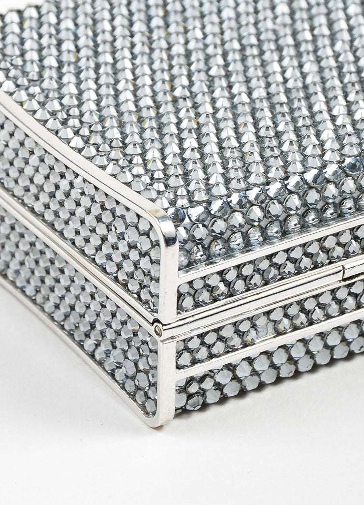 Silver Toned Judith Leiber Rhinestone Covered Rectangular Convertible Clutch Bag Detail