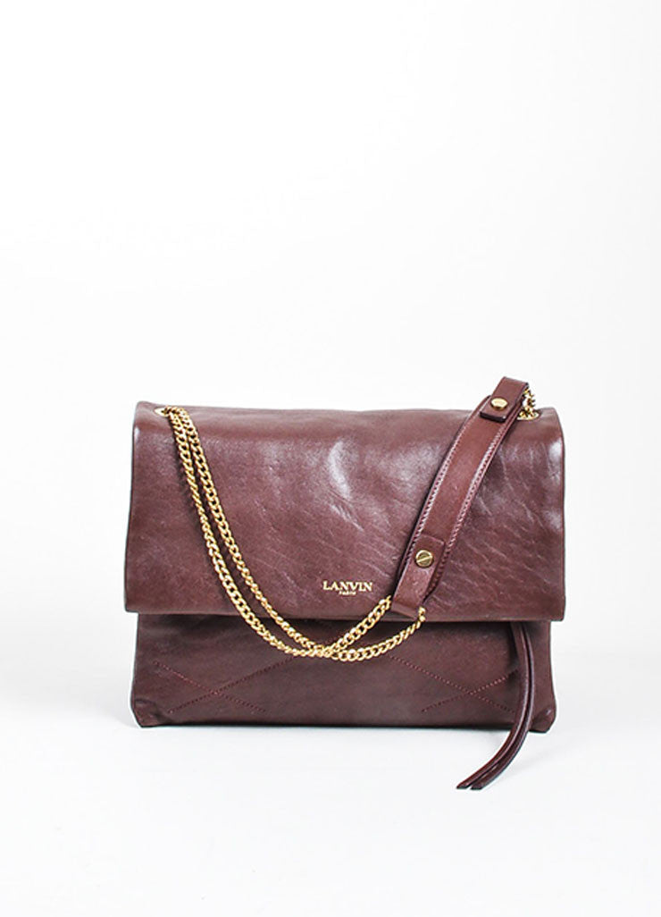 "Oxblood Red Lanvin Lambskin Leather Chain Strap ""Medium Sugar"" Flap Bag Frontview"