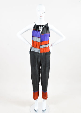 LemLem Grey, Purple, and Orange Cotton Striped Sleeveless Jumpsuit Frontview