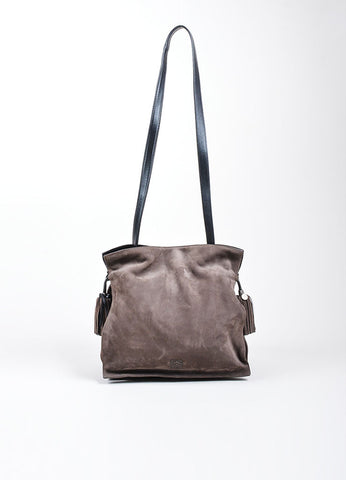 "Charcoal Grey Loewe Nubuck Tassel ""Flamenco"" Shoulder Bag Frontview"