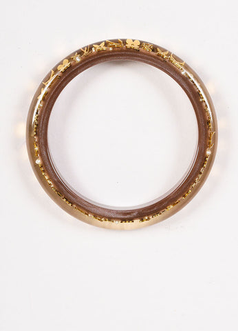 "Louis Vuitton Brown and Gold Toned Resin ""Inclusion TPM"" Monogram Bangle Bracelet Topview"