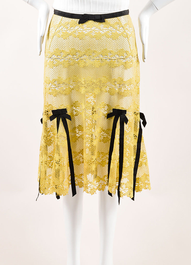 Louis Vuitton Yellow and Brown Cotton Lace Bow Ribbon Trim Skirt Frontview