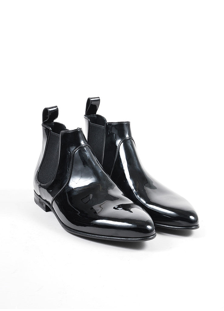 s gucci black patent leather chelsea boots luxury