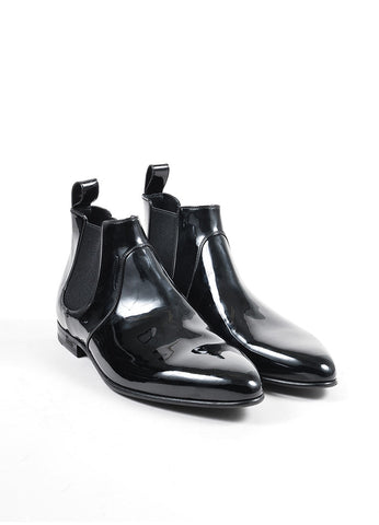 Men's Gucci Black Patent Leather Chelsea Boots Front