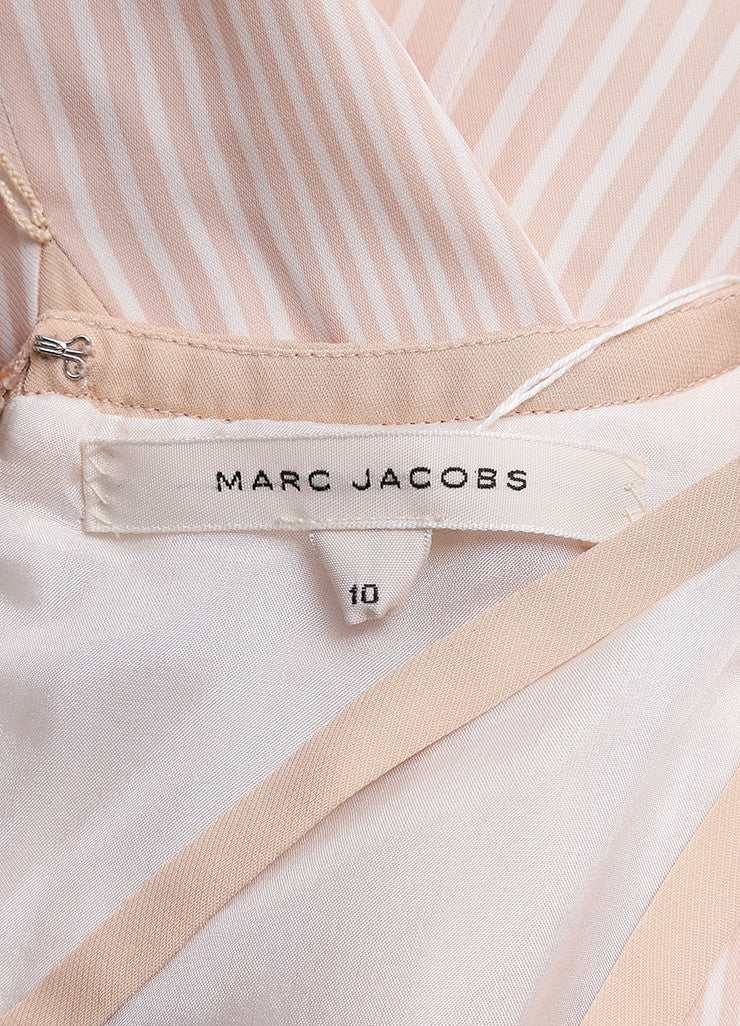 Marc Jacobs New With Tags Beige and Cream Stripe Pleated and Belted Cut Out Dress Brand