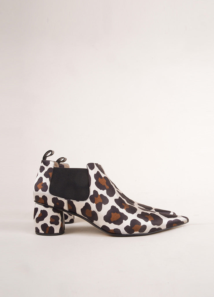 Marc Jacobs New In Box White and Brown Pointed Toe Leopard Booties Sideview