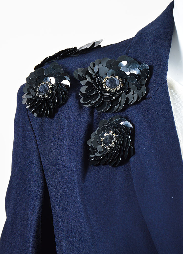 Navy Blue Marni Crepe Sequin Flower Embellished Blazer Detail