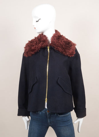 Odeeh New With Tags Navy and Maroon Cotton and Wool Mohair Collar Zip Swing Jacket Frontview