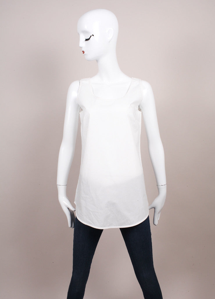 "Odeeh New With Tags ""Milk"" White Cotton Poplin Scoop Neck Tank Top Frontview"