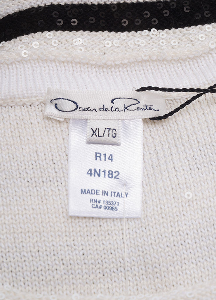 Oscar de la Renta New With Tags White and Navy Striped Sequin Sweater Brand