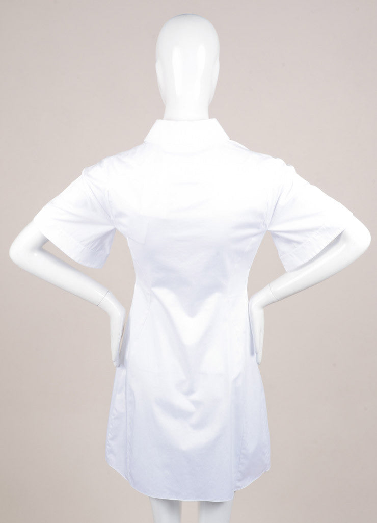 "Peter Pilotto New With Tags White and Black Poplin Silk Lace Trim ""Cate"" Dress Backview"