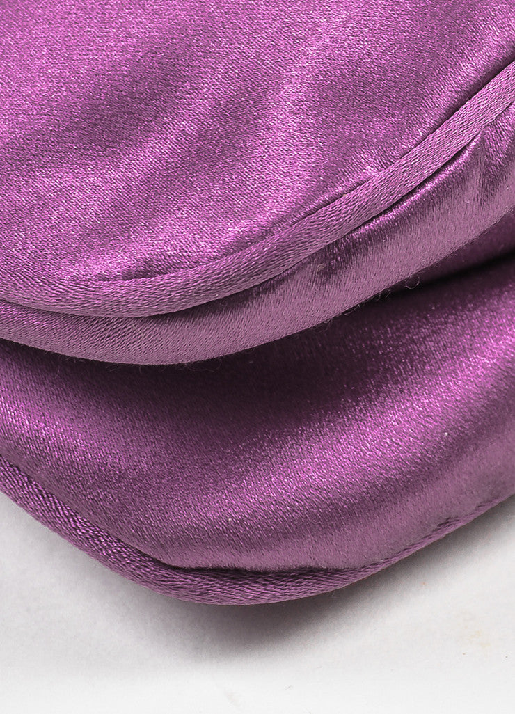 Prada Purple Satin Zipper Clutch Bag Detail