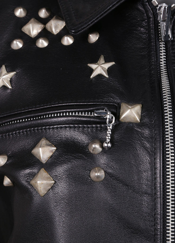 R13 New With Tags Black Leather Studded Zip Moto Jacket Detail