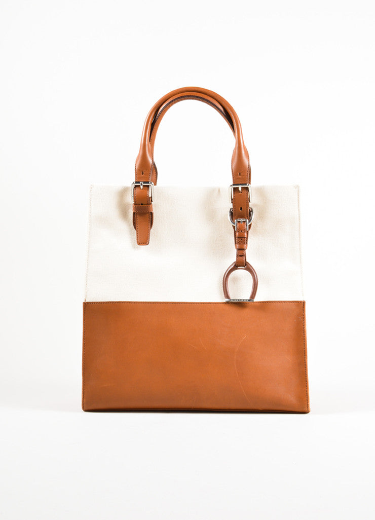 Ralph Lauren Brown and Tan Canvas and Leather Panel Tote Bag Frontview
