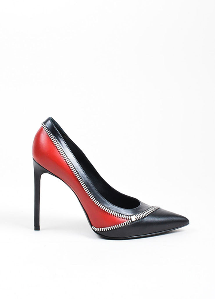 Black and Red Saint Laurent Leather Zippered Pointed Toe Pumps Sideview