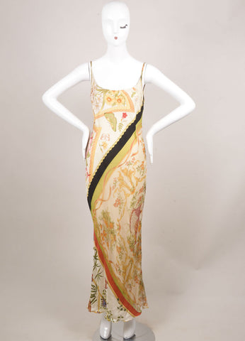 Salvatore Ferragamo Cream, Black, and Green Silk Butterfly Print Maxi Dress Frontview