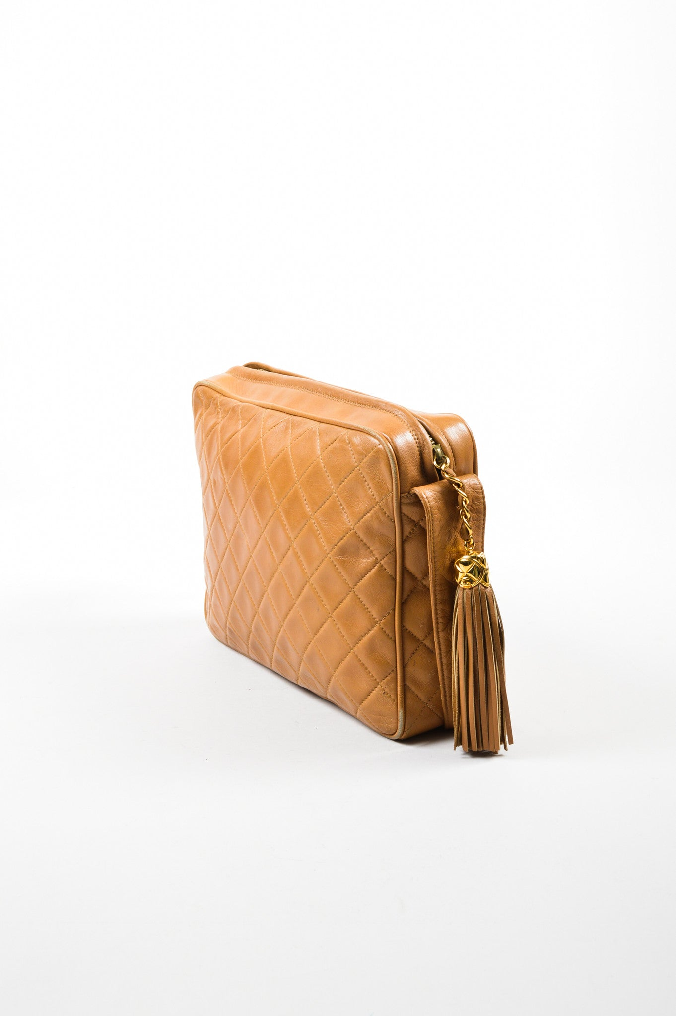 Caramel Tan Chanel Lambskin Leather Quilted 'CC' Tassel Shoulder Bag Sideview