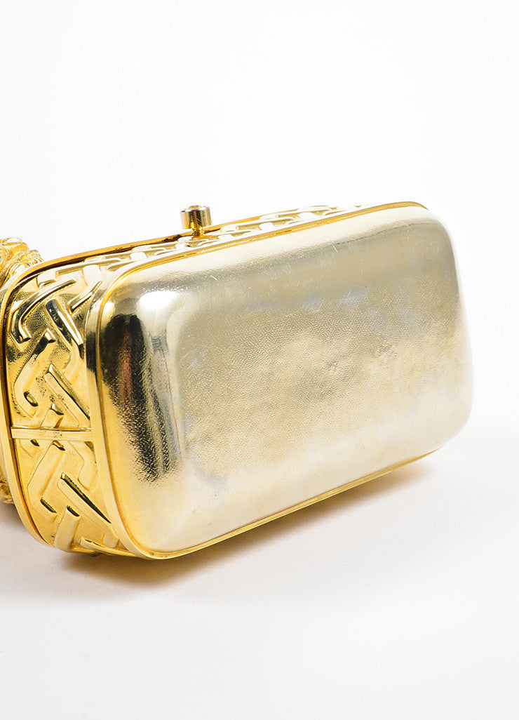 Gold Toned Judith Leiber Lion Minaudiere Clutch Bag Bottom View