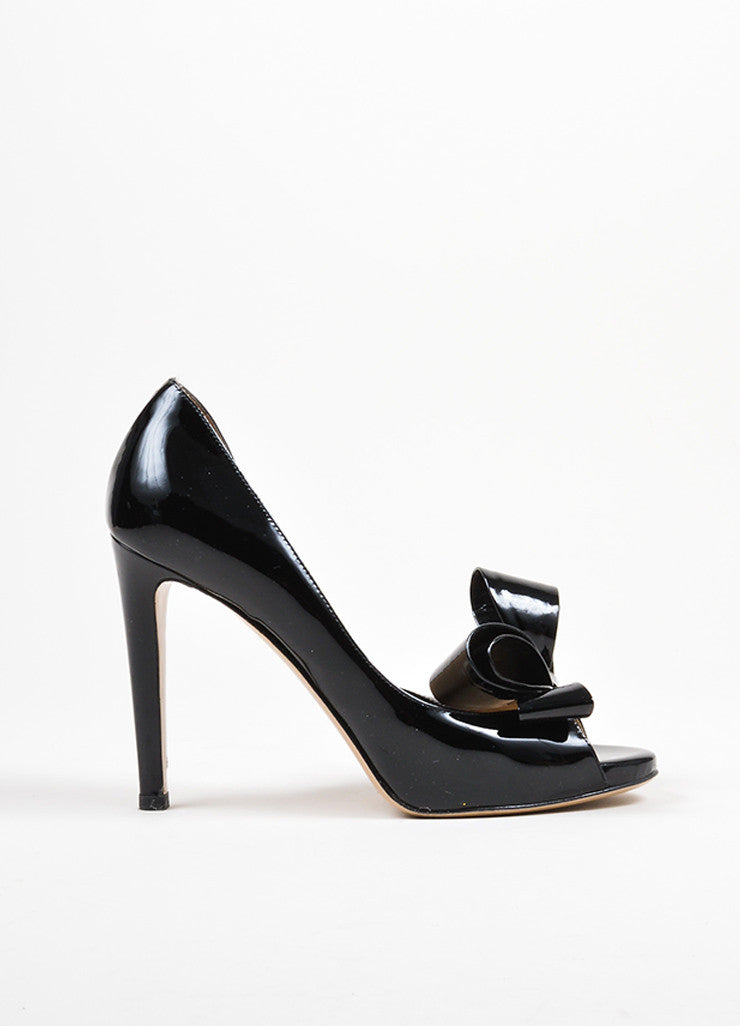Black Valentino Patent Leather D'Orsay Bow High Heel Pumps Sideview