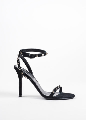 "Black and Gunmetal Valentino Suede Ankle Strap ""Rockstud Noir"" Sandals Sideview"