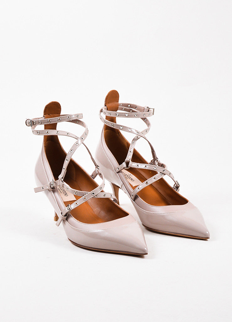 "Beige Valentino Patent Leather Caged ""Love Latch"" Pumps Front"