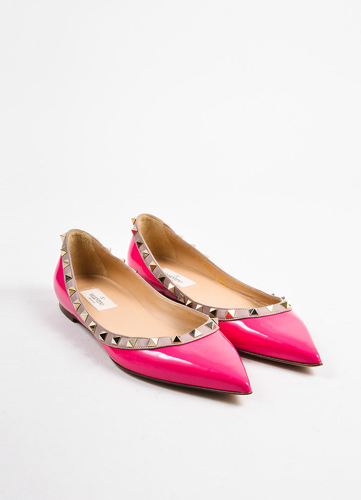 "Valentino Pink and Gold Toned Patent Leather ""Rockstud"" Flats Frontview"