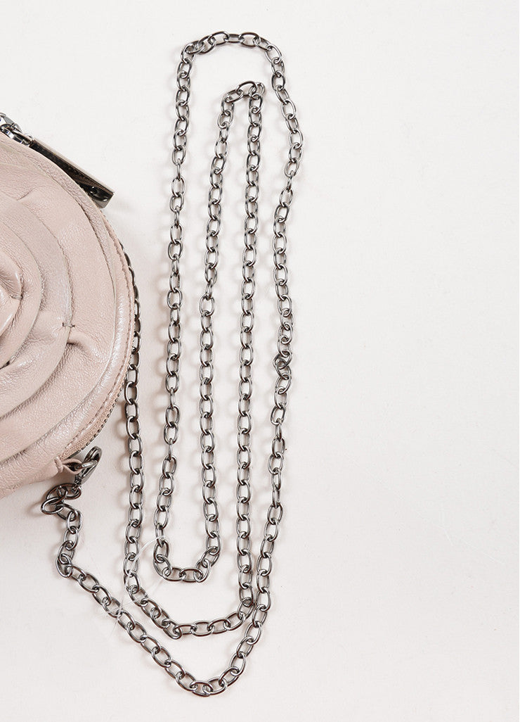 Valentino Grey Leather Rosette Chain Strap Mini Shoulder Bag Detail 2