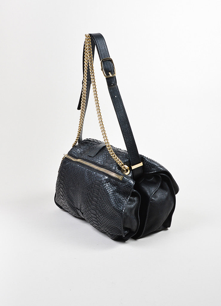 Victoria Beckham Black Python Gold Toned Chain Satchel Bag Sideview