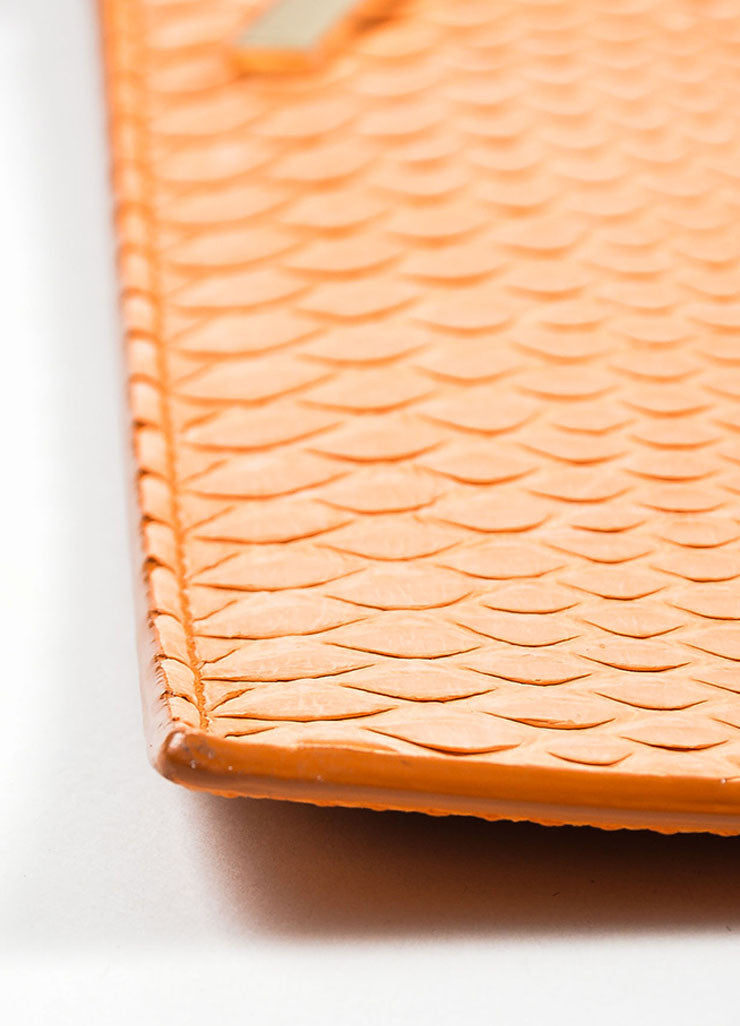 Orange Victoria Beckham Python and Buffalo Zip Oversized Pouch Clutch Bag Detail