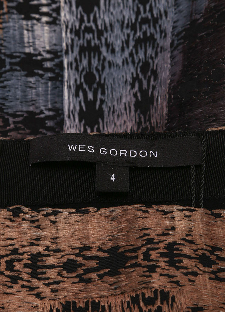 Wes Gordon New With Tags Black, Blue, and Tan Cotton Woven Midi Pencil Skirt Brand