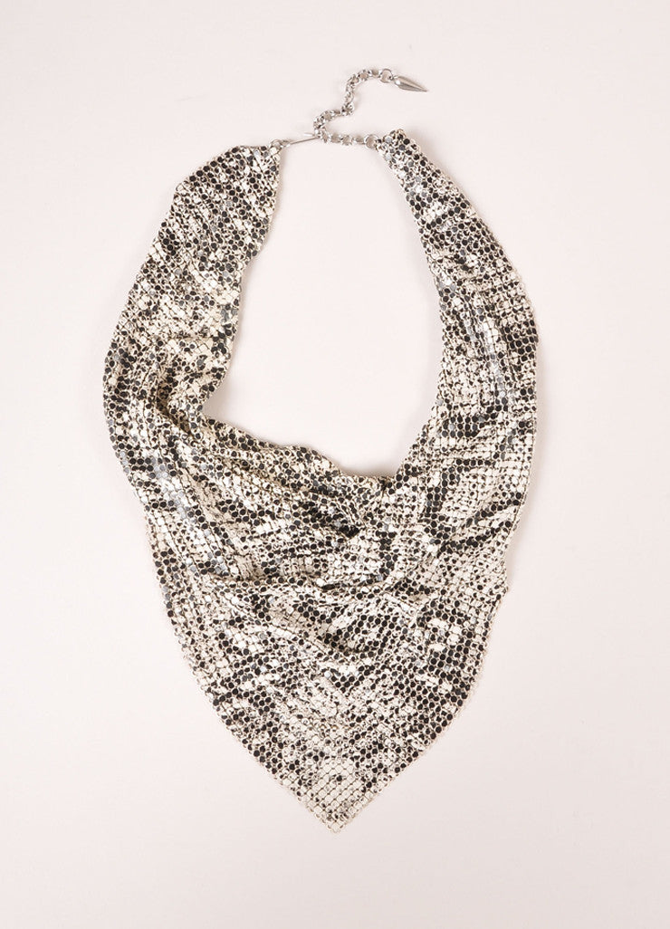 Whiting and Davis White and Black Mesh Snakeskin Print Cowl Drop Bib Necklace Frontview