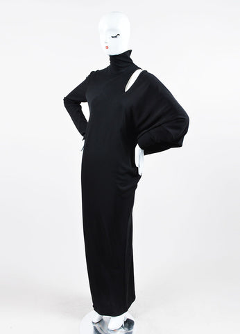 Jean Paul Gaultier Black Cut Out Asymmetrical Long Sleeve Gown Sideview