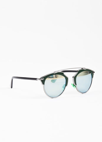 "Christian Dior ""So Real"" Gunmetal Grey and Hunter Green Tinted Geometric Sunglasses Sideview"