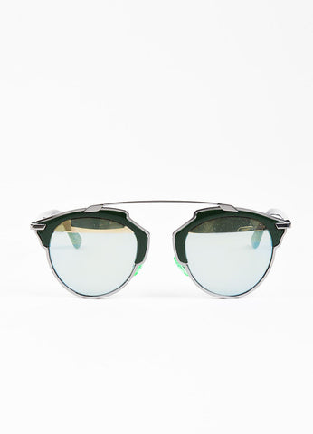 "Christian Dior ""So Real"" Gunmetal Grey and Hunter Green Tinted Geometric Sunglasses Frontview"