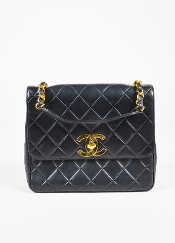 "Chanel Black Quilted Leather Gold Chain Strap ""CC"" Lock Shoulder Bag Frontview"