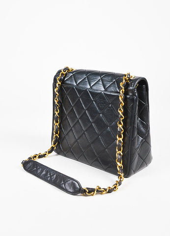 "Chanel Black Quilted Leather Gold Chain Strap ""CC"" Lock Shoulder Bag Sideview"