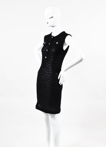 Chanel Black Shaggy Knit Sleeveless Button Up Shift Dress Side