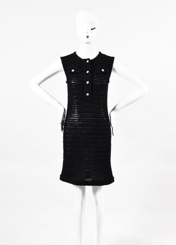Chanel Black Shaggy Knit Sleeveless Button Up Shift Dress Front