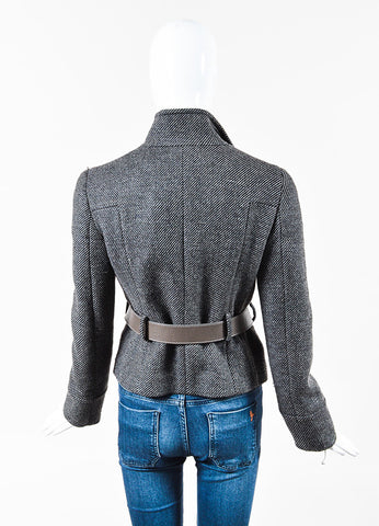 Gucci Black & Grey Wool Horse Bit Belted Jacket Back