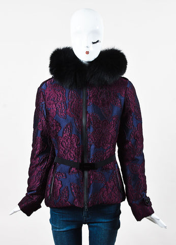 Burberry Navy Purple Jacquard Floral Embroidered Fox Fur Hood Coat Front