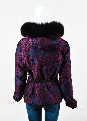 Burberry Navy Purple Jacquard Floral Embroidered Fox Fur Hood Coat Back